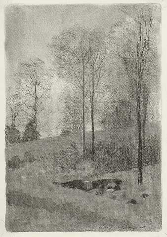"Landscape (untitled).  Albert W. Barker. Charcoal drawing, 1905. Image size 13 7/8 x 9 1/2"" (353 x 243 mm). LINK."