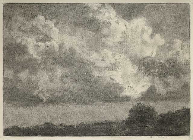 "Clouds. Albert W. Barker. Charcoal drawing, 1920. Image size 9 7/8 x 13 15/16"" (252 x 355 mm). LINK."