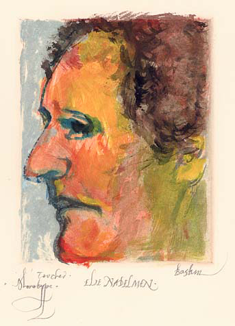 Elie Nadelman. Leonard Baskin. Monotype, 1989. Image size  5 x 4 inches. Signed and titled in pencil. LINK.