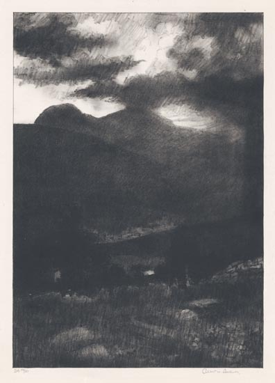 "Catskill Mountains, Nightfall. Albert W. Barker. Lithograph, c.1928. Image size 10 15/16 x 7 3/4"" (278 x 197 mm). Edition 51. LINK."