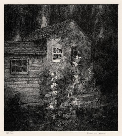 "The Shop. Albert W. Barker. Lithograph, 1931. Image size 9 3/4 x 8 11/16"" (247 x 220 mm). Edition 30. LINK."