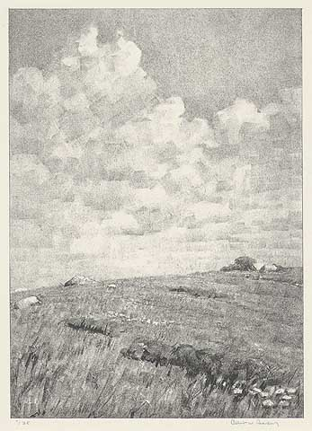 "Stony Pasture. Albert W. Barker. Lithograph, 1931. Image size 11 x 7 7/8"" (279 x 199 mm). Edition 35. LINK."