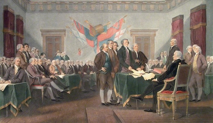 The Declaration of Independence of the United States of America. : July 4th 1776.  Mixed-media engraving, hand colored, 1858. Published by Goupil & Cie., Paris. Engraved by Alexander Jazet, with the additional imprint of M. Knoedler & Co., New York. Jazet's engraving is a particularly skilled and handsome print adaptation of Trumbull's famous painting. Image size 13 3/4 x 23 3/8. LINK.