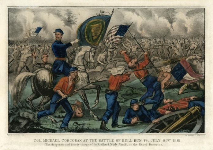 "Col. Michael Corcoran, at the Battle of Bull Run, Va. - July 21st 1861. : The desperate and bloody charge of the ""Gallant Sixty-Ninth,"" on the Rebel Batteries.  Published by Currier & Ives, 152 Nassau St. New York. Lithograph, undated. Small folio - image size 8 x 12 1/4 inches. LINK."