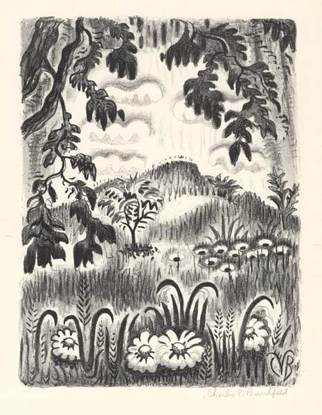 "Summer Benediction. Charles E. Burchfield. Published by The Print Club of Cleveland. Lithograph, 1953. Image size 12 x 9"" (304 x 229 mm). Edition 260. Signed in pencil."