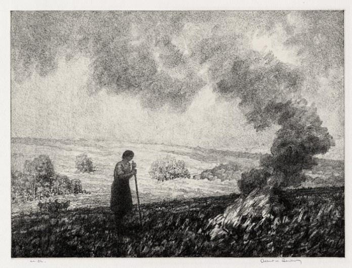 "Stubble Fire. Albert W. Barker. Lithograph, 1935. Image size 8 9/16 x 11 1/16"" (217 x 293 mm). Edition 32. Printed on chine colle. LINK."