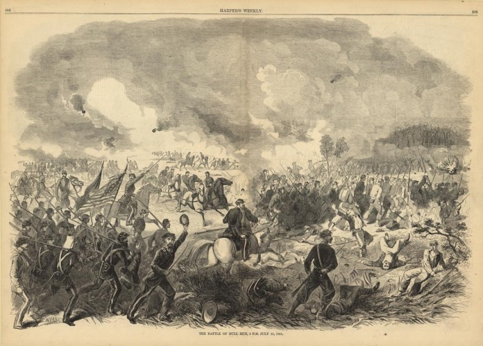 "The Battle of Bull Run, 2 P.M. July 21, 1861.  Alfred Waud. Published by Harper's Weekly, August 10, 1861. Wood engraving, 1861. Image size 13 3/4 x 20 1/4"" (35 x 51.4 cm). LINK."