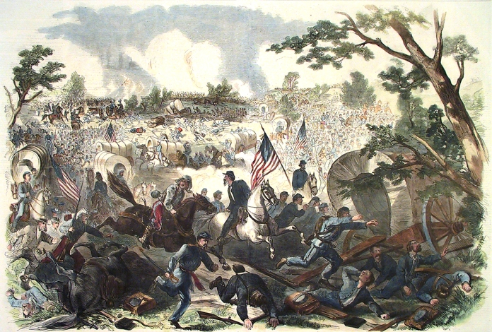 "The Great Battle at Bull Run, VA., on Sunday Afternoon, July 21, Retreat of the Federal Army upon Centreville – Col. Miles's Reserve Division Covering the Retreat and Repelling the Charge of the Rebel Cavalry – Panic Among the Teamsters and Civilians, and General Stampede Towards Arlington Heights. Published by  Frank Leslie, New York. Wood engraving, c. 1862.  From ""Pictorial History of the War of 1861."" Image size 19 7/8 x 29 1/4"". LINK."