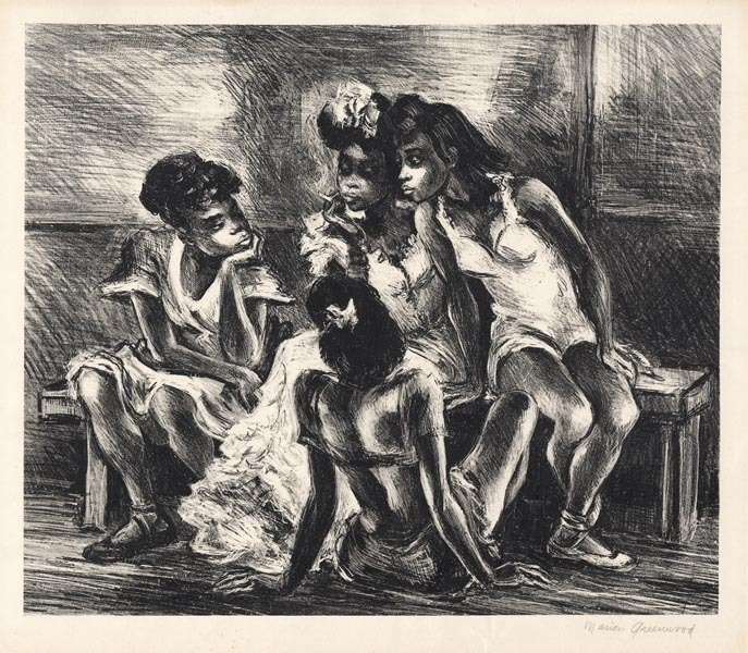 "Untitled. [Young Girls.] Marion Greenwood, Lithograph, c. 1940. Edition unknown.  Image size 110 1/8 x 11 7/8"" (257 x 302 mm). LINK."