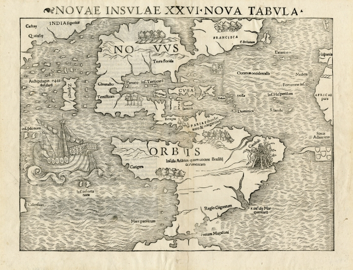 "Novae Insulae XXVI Nova Tabula. Sebastian Munster. Published by Sebastian Munster, Basel. Woodcut, 1540, (c.1544-45). Image size 10 x 13 3/8"" (25.5 x 34.1 cm) plus margins. Very good condition save for some minor splitting along centerfold. Black & white. LINK."