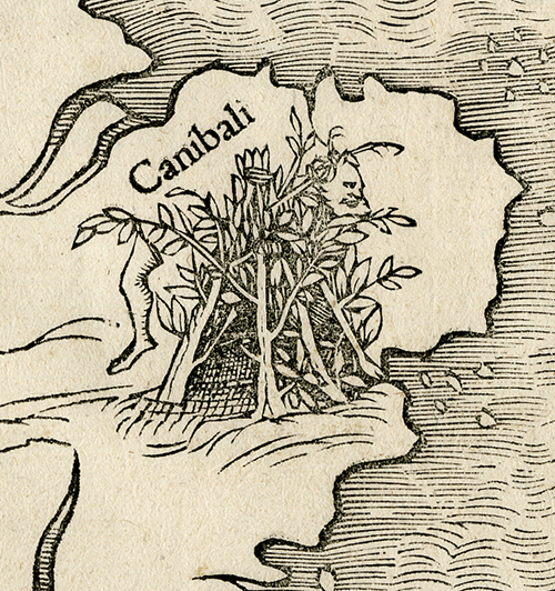 Detail of northwest bulge of South America, inhabited by terrifying cannibals hiding in bushes. Novae Insulae XXVI Nova Tabula. Sebastian Munster. Published by Sebastian Munster, Basel. Woodcut, 1540, (c.1544-45).  LINK.