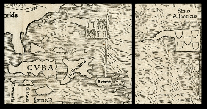 Detail of flag of Spain on Puerto Rico (at left) and flag of Portugal in the South Atlantic (at right). Novae Insulae XXVI Nova Tabula. Sebastian Munster. Published by Sebastian Munster, Basel. Woodcut, 1540, (c.1544-45).  LINK.