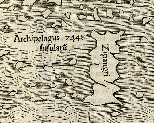 "Detail of Japan, marked as ""Zipangri"" on this map. Novae Insulae XXVI Nova Tabula. Sebastian Munster. Published by Sebastian Munster, Basel. Woodcut, 1540, (c.1544-45).  LINK."