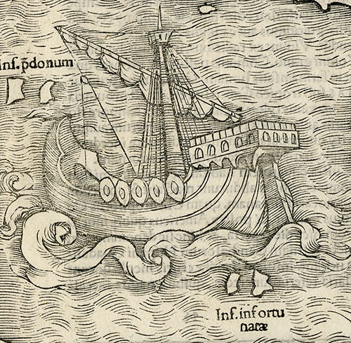 "Detail of Magellan's ship ""Victoria"",  first ship to successfully circumnavigate the world. Novae Insulae XXVI Nova Tabula. Sebastian Munster. Published by Sebastian Munster, Basel. Woodcut, 1540, (c.1544-45).  LINK."