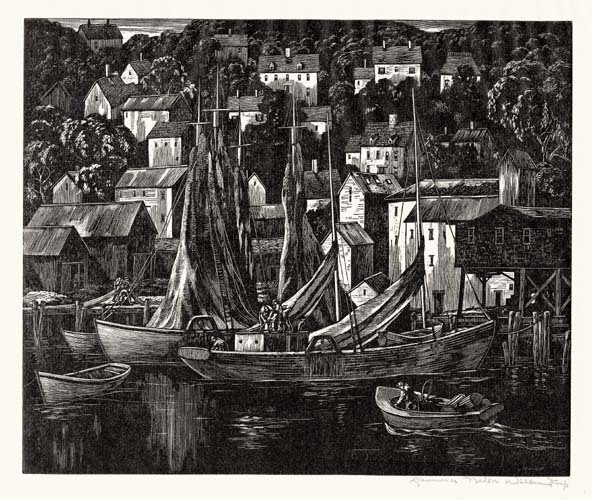 Tranquil Harbor. Gloucester, Massachusetts. Lawrence Wilbur. Wood engraving, 1958.  Edition 55. Image size 8 5/8 x 10 inches. LINK.