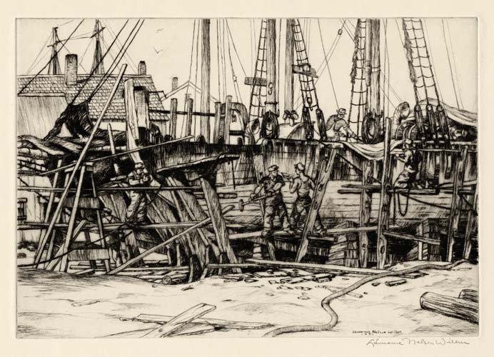 Ship Building - Gloucester. Lawrence N. Wilbur Drypoint, 1943. Image size 7 5/8 x 11 inches.  Edition 30. LINK.