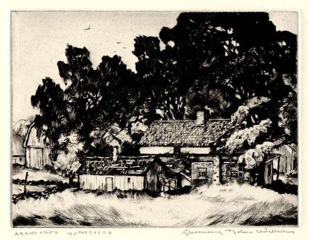 "Abandoned Homestead. Lawrence Wilbur. Drypoint, 1938. Edition 45+27. Image size 6 x 8"". LINK."