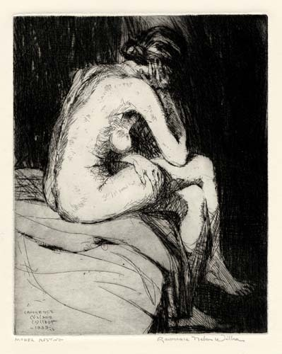 "Model Resting. Lawrence Wilbur. Etching and aquatint, 1939. Edition 40. Image size 9 3/4 x 7 7/8"" (252 x 201 mm). LINK."