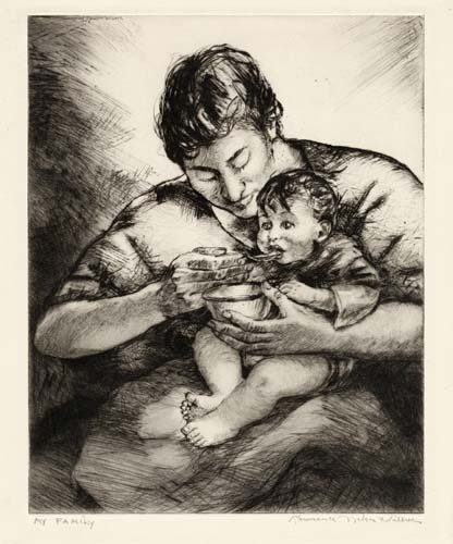 "My Family. Lawrence Wilbur. Drypoint, 1950. Edition 55. Image size 10 x 8"" (256 x 203 mm). LINK."