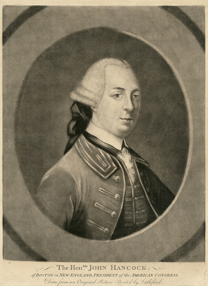 "The Hon.ble John Hancock. of Boston in New-England; President of the American Congress. By Littleford. London, Published as the Act directs 25 Octo.r 1775 by C. Shepherd. Mezzotint engraving, 1775. Image size 12 1/2 x 9 7/8"" (318 x 251 mm). Overall is good condition, lower ""C. Shepherd."" publication line trimmed off. LINK."