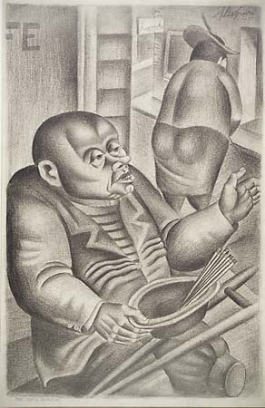 "The Pencil Vendor. Abe Blashko. Graphite drawing, 1937. Image size 22 3/4 x 13 3/8"" (526 x 304 mm). LINK."