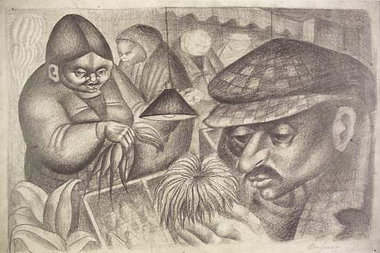 "Market. Abe Blashko. Graphite drawing with chalk highlights, 1937. Image size 13 1/2 x 20 3/4"" (343 x 528 mm). LINK."