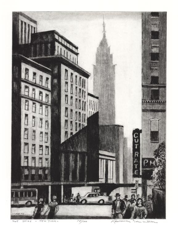 "The Sprie - New York. Lawrence Wilbur. Drypoint, 1985. Edition 100. Image size 14 7/8 x 11 1/8"" (380 x 282mm). LINK."