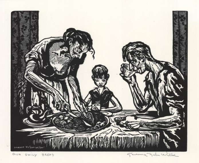 Our Daily Bread. Lawrence Wilbur. Woodcut, c.1940. Edition unknown. Image size 8 x 9 15/16 inches. LINK.