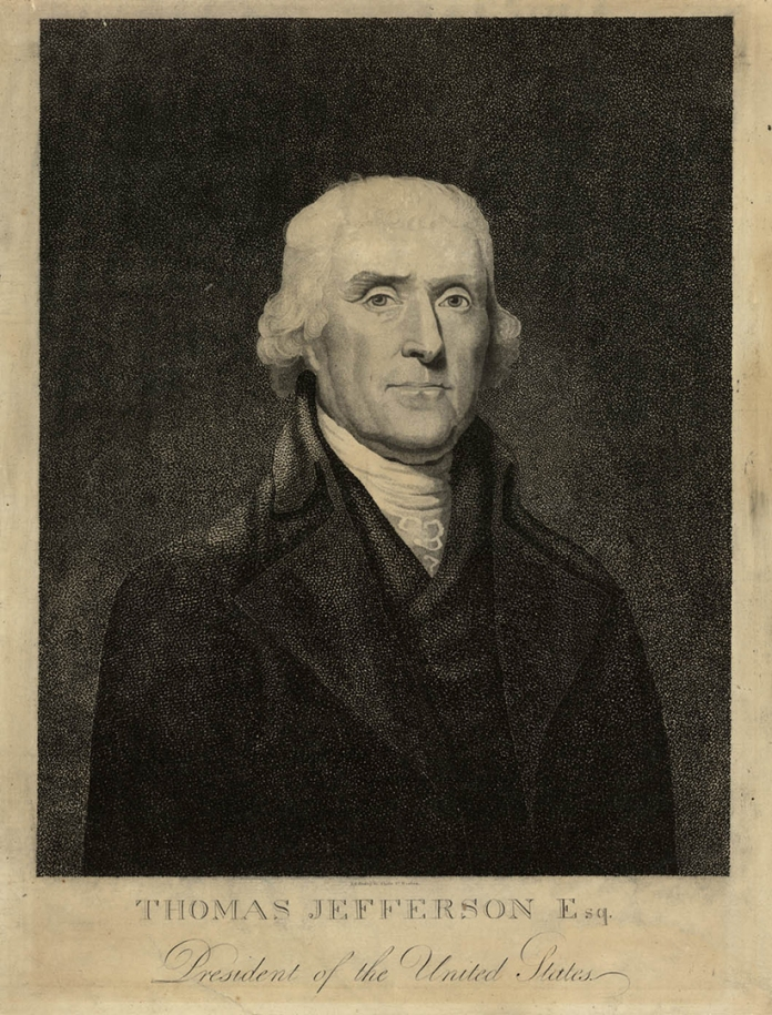 Thomas Jefferson, Esq. President of the United States.After a painting by Rembrandt Peale. Engraved by Enoch G. Gridley, State St. Boston. Undated, circa 1801.Stipple engraving.Image size 11 1/4 x 9 inches (28.5 x 22.9 cm) plus margins. LINK.