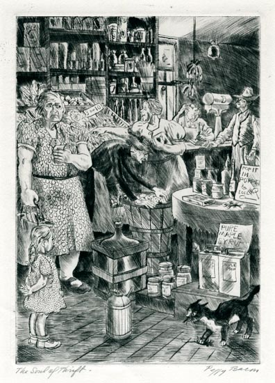 The Soul of the Thrift. Peggy Bacon. Drypoint, 1941. Image size 9 7/8 x 7 inches. LINK.