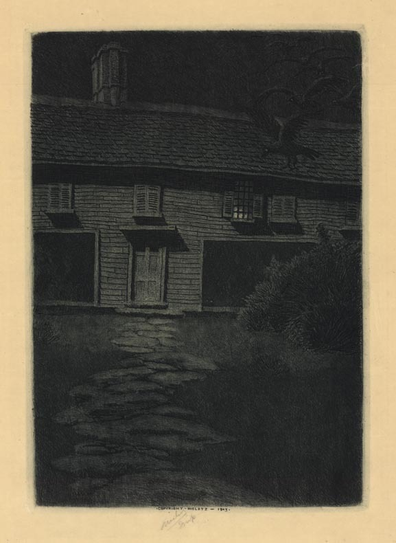The Witch House. Salem, Massachusetts. Charles Mielatz. Drypoint, 1903. Edition unknown. Image size 9 5/8 x 6 5/8