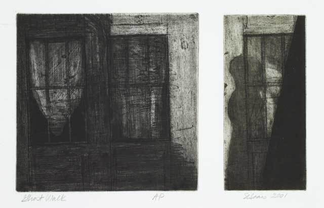 Ghost Walk. Sarah Sears. Etching, 2001. Artist proof. Image size 7 1/2 x 12 1/4