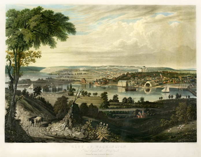 "City of Washington: From beyond the Navy Yard. George Cooke. Published by Lewis P. Clover, 180 Fulton St. N.Y. Aquatint engraving, 1834. Engraved by W. J. Bennett. Image size 17 5/8 x 24 5/8"". LINK.  One of the great views of the Nation's Capital. Washington is shown from the south bank of the Anacostia River. On the right is the Washington Navy Yard, est. 1799, behind is the original Capitol Building and to the left is the White House. REF: Deak 485, Stokes 1837 E-64."