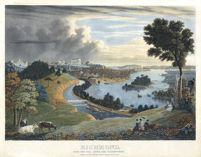 "Richmond, from the Hill above the Waterworks. By Goegre Cooke. Published by Lewis P. Clover, 180 Fulton St. N.Y. Aquatint engraving, c. 1833. Engraved by W. J. Bennett. Image size 17 3/4 x 25 3/8"". LINK. One of the rarest and most beautiful of Bennett's aquatints. Gloria Deak describes the print as ""George Cooke's romantic celebration of Richmond's charms. . . His composition describes the winding path of the Kanawha Canal, embracing in its arc the waters of the James River, where closely clustered buildings rising from its banks define the human community. Grazing cows lend a pastoral touch, and elegant residents, sketched at their leisure on the wooded heights, are placed by the artist in the amphitheater like setting. . . ."" Shown prominently is the Virginia State Capitol building which was designed by Thomas Jefferson. To the right is the Governor's mansion. To the left is City Hall (torn down in 1870) and the State Penitentiary which was designed by Benjamin Latrobe."