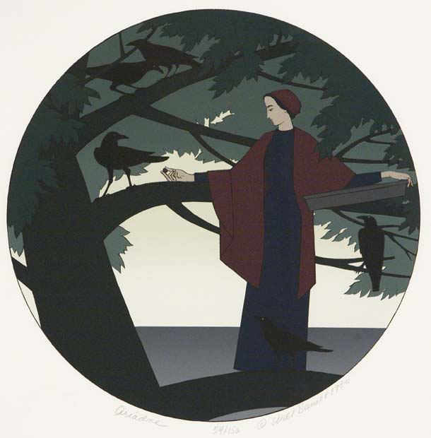 "Ariadne. By Will Barnet. Published by Styria Studio, Inc., New York and Will Barnet. Color serigraph. 1980. Image size 17 3/4 x 15"" (450 x 378 mm). Edition 150. Inscribed ""54/150."" LINK."