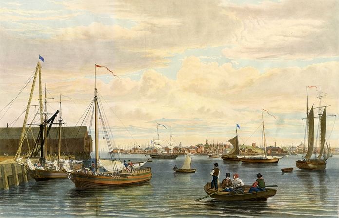 """Boston, from the Ship House, West End of the Navy Yard. By William J. Bennett. Published by Henry I. Megarey, New York. Handcolored aquatint, 1833.  Image size 15 5/8 x 24 1/8"""".  LINK.  William Bennett was both the artist and engraver of this delightful view of Boston. One of the great views of the city, Bennett was able to capture the bustling and dynamic nature of this port city at the beginning of the 19th century."""