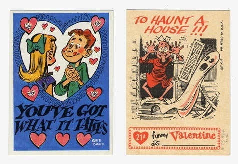 You've got what it takes - To haunt a house!!! Copyright T.C.G. Printed in U.S.A. Undated. c.1970. This lighthearted Valentine features a young man fawning over a young girl. Flip it over and reveal the girl frightening even the ghost with her face. Card size 3 1/2 x 2 1/2