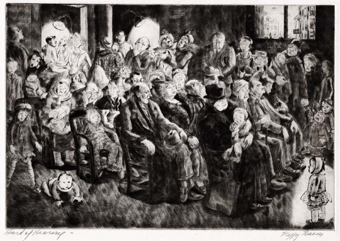 "Hard of Hearing. Peggy Bacon. Drypoint, 1933. Image size 7 1/2 x 10 7/8"" (191 x 277 mm). LINK."