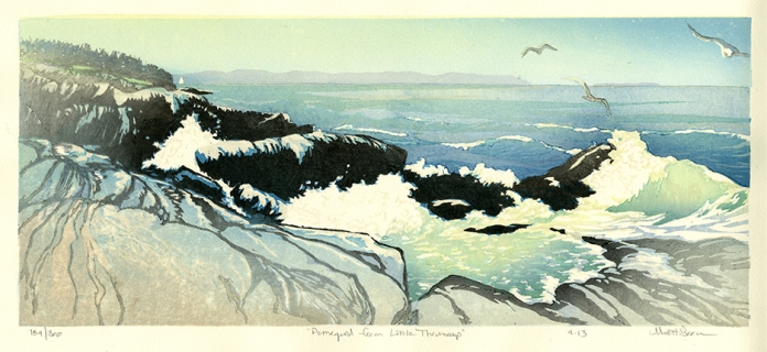 Pemaquid from Little Thumcap. Color woodblock print, 2013. Edition 300. Image size 6 3/4 x 16 1/2 inches.