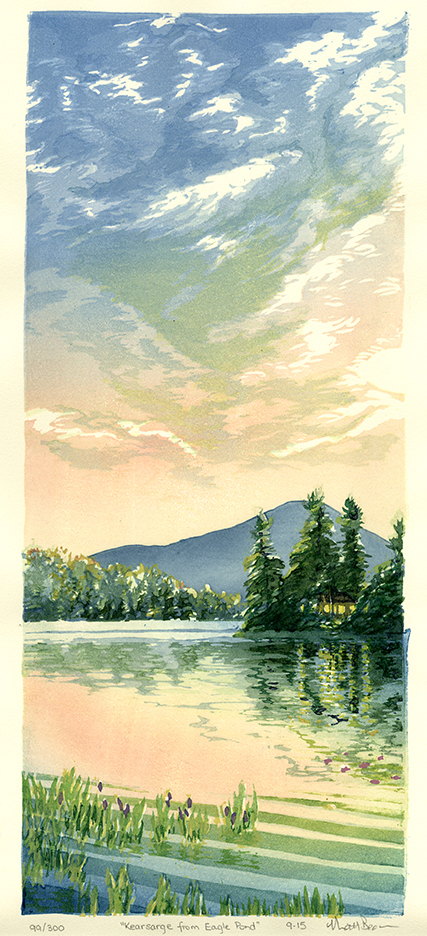 Kearsarge from Eagle Pond. Matt Brown. Color woodblock print, 2015. Edition 300. Image size 16 1/2 x 7 inches.