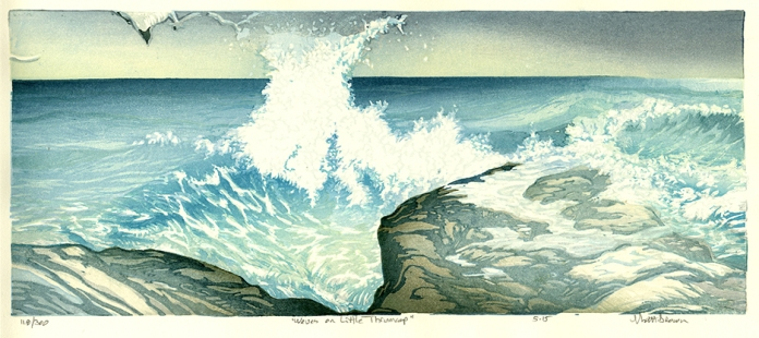 Waves on Little Thrumcap. Matt Brown. Color woodblock print, 2015. Edition 300. Image size 7 x 16 5/8 inches.