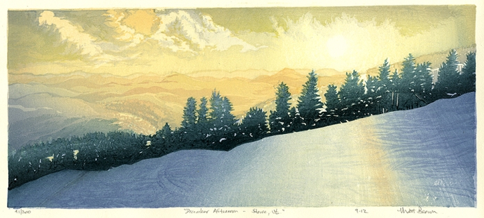 December Afternoon - Stowe, Vt. Matt Brown. Color woodblock print, 2012. Edition 300. Image size 7 x 16 1/8 inches.