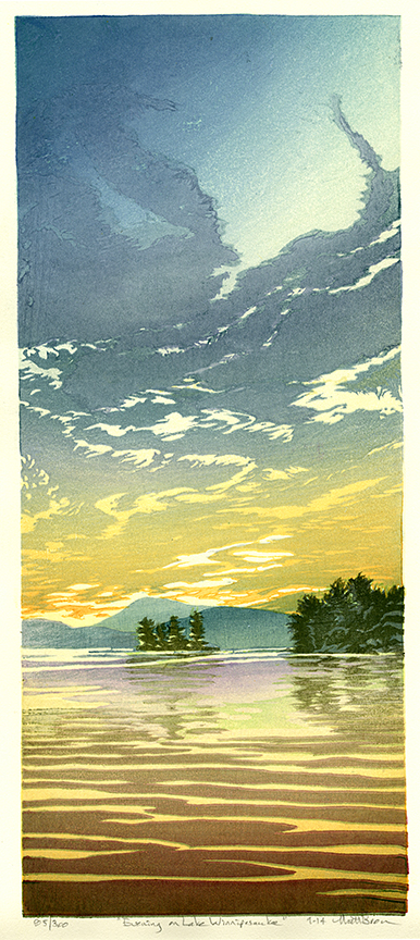 Evening at Lake Winnipesaukee. Color woodblock print, 2014. Edition 300. Image size 16 1/2 x 7 inches.