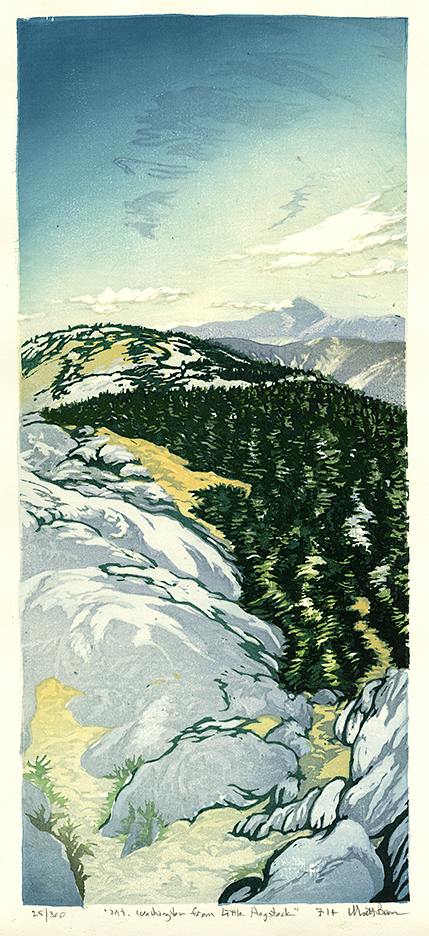 Mt. Washington from Little Haystack. Matt Brown. Color woodcut print, 2014. Edition 300. 15 7/8 x 7 inches.