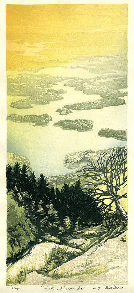 Sunlight and Squam Lake. Matt Brown. Color woodcut print, 2015. Edition 300. Image size 16 1/8 x 7 inches.