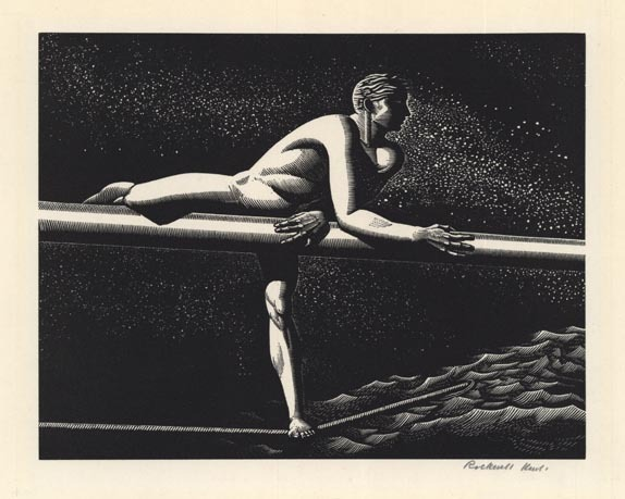 "Bowsprit. By Rockwell Kent. Wood engraving, 1930. Edition 120. Image size 5 5/8 x 6 15/16"" (137 x 177 mm). Signed in pencil."