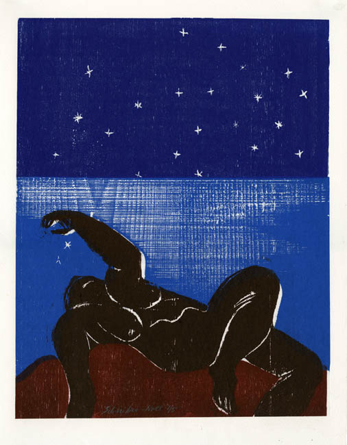 "Nude Woman. [Untitled.] Ilse Schreiber-Noll. Color woodcut, 1991. Edition 5. Image size 16 78 x 13 1/4"" (428 x 337 mm)."
