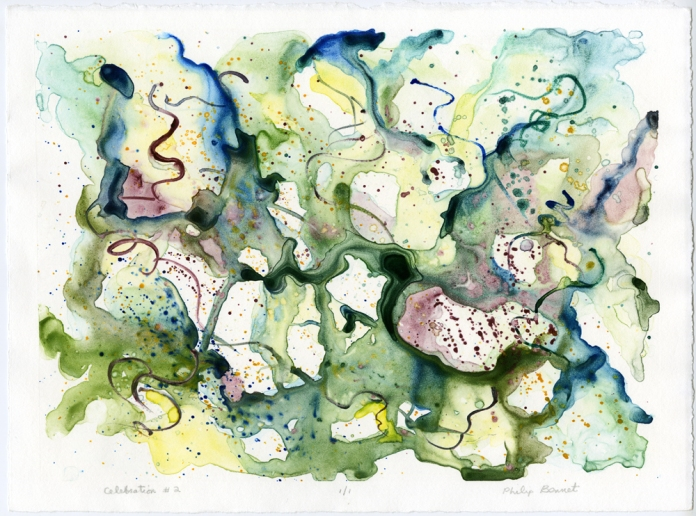 "Celebration #2. Philip Bennet. Watercolor monotype, 2014. Ed 1/1. Image size 10 x 13 3/4""."