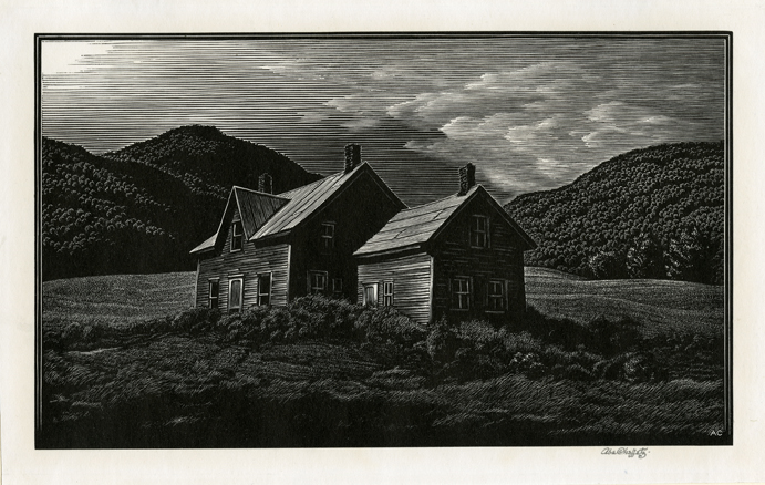 In the Hill Country. (Vermont). Asa Cheffetz. Published by Associated American Artists. Wood engraving, c. 1943. Edition 250. Image size 5 1/2 x 8 3/4 inches.