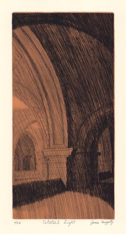"Celestial Light. [The Metropolitan Museum of Art.] By James Haggerty. Etching and chine colle, 2004. Image size 11 11/6 x 5 13/16"" (297 x 147 mm). LINK."